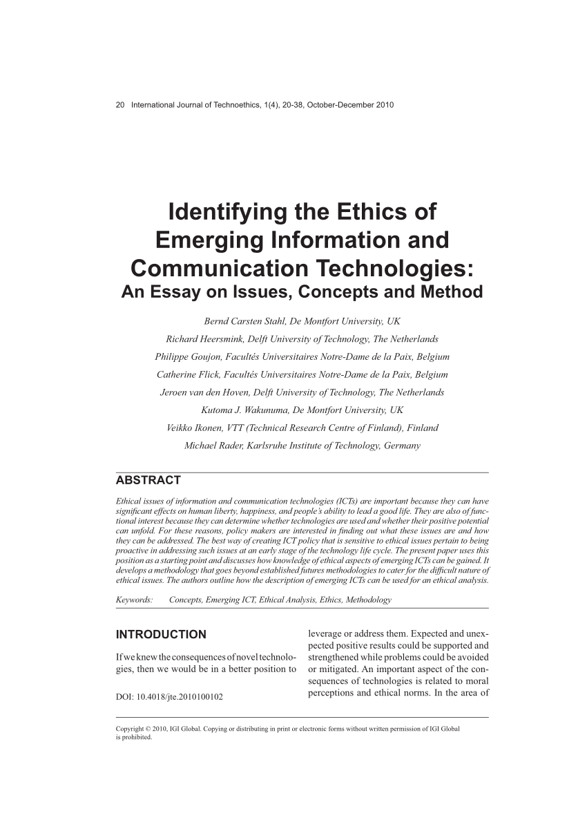 Identifying the ethics of emerging information and communication technologies: an essay on issues, concepts & method