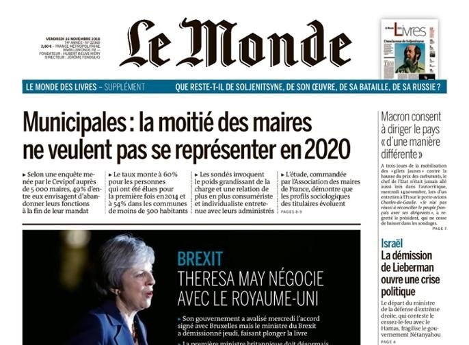 Newspaper Le Monde from 16 November 2018