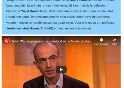 Jeroen van den Hoven on Harari's Ideas on Man and Machine